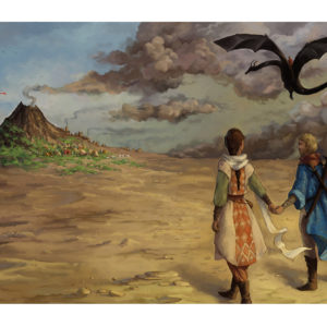 A fantasy painting of a man and a woman, holding hands as they walk toward the remains of a smoking volcano while dragons fly overhead.