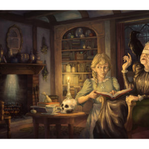 A fantasy illustration of an old witch teaching young girl Tiffany Aching about the Wintersmith, based on the book by Terry Pratchett.
